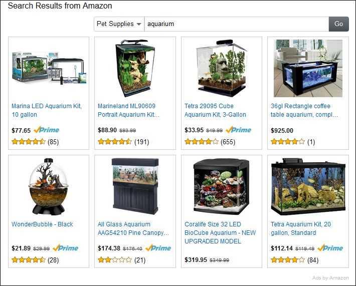 Amazon.com Site Widget Example For Aquarium Niche